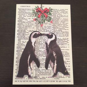 Kerstkaart met pinguins
