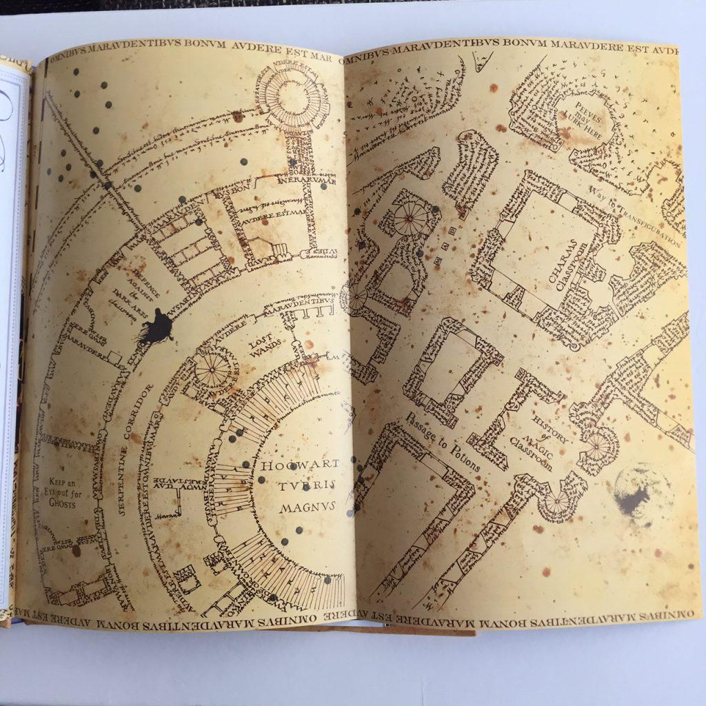 Uitgeklapte kaart van Marauder's map