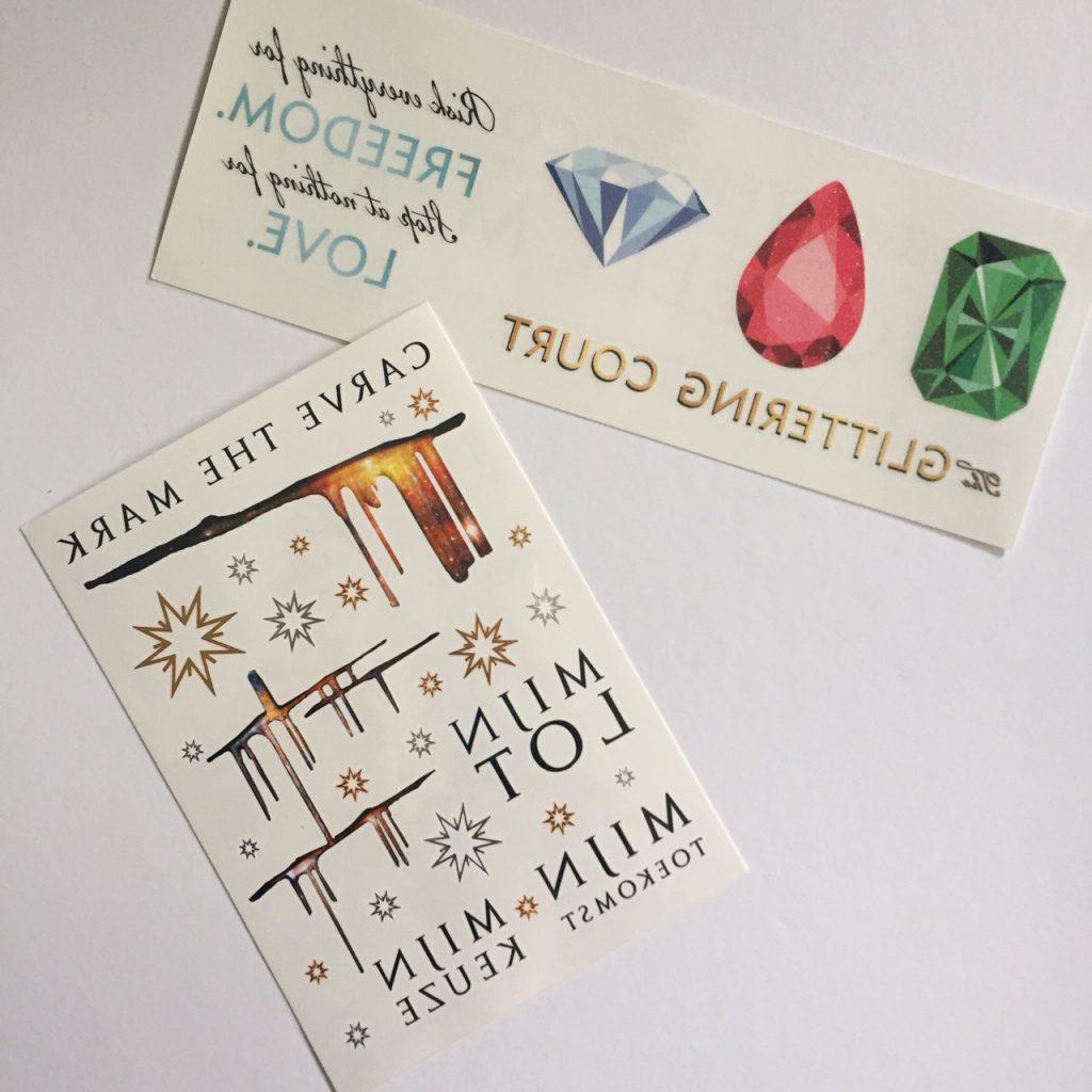 Tijdelijke tattoos van YA boeken